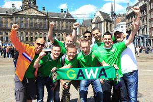 Northern Ireland fans in Amsterdam ahead of their international friendly against the Netherlands on Saturday evening