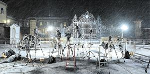 Could the last one to leave please turn off the lights? TV cameras and lights abandonded in the snow outside Hillsborough last night