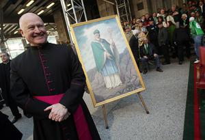 A painting of Saint Patrick is seen outside Saint Patrick's Cathedral during the 249th annual St. Patrick's Day parade March 17, 2010 in New York City