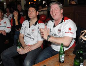 Paul Campbell and Ronan O'Dougherty   pictured cheering on Ulster at The Taphouse bar in Belfast