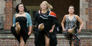 """Queen's University summer Graduation.  July 2010.  """"Dancing Doctor"""" Blathnaid Carlin graduated in Medicine at Queen's today with  sisters Aoife (l) and Meabh, from Lurgan."""