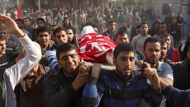 Relatives and friends carry the body of Palestinian child Faris Basyoni during his funeral in Gaza. Relatives say he was killed after an Israeli airstrike hit his family house. (AP)