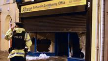 Alliance party office which was set on fire in Carrickfergus after a flag protest