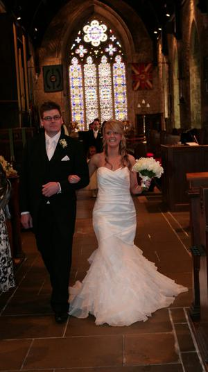 """Emma Hawthorne and Curtis Crozier, married on 25th August 2012 in St Nicholas' Parish Church Carrickfergus. <p><b>To send us your Wedding Pics <a  href=""""http://www.belfasttelegraph.co.uk/usersubmission/the-belfast-telegraph-wants-to-hear-from-you-13927437.html"""" title=""""Click here to send your pics to Belfast Telegraph"""">Click here</a> </a></p></b>"""