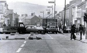 Another blockade during the U.W.C strike. May 1974