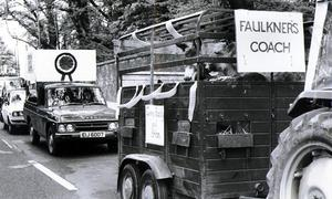 A convoy travels along the road during the U.W.C strike. 1974