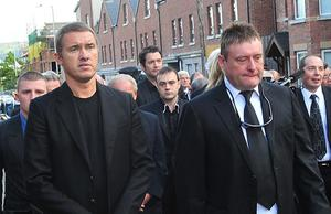 Pacemaker Press 2/8/10 Jimmy White and Steven Henry attend the funeral of Former Snooker World Champion Alex Higgins as his coffin leaves the Donegal Road for his Funeral at St Anne's Cathedral in Belfast , Alex died after suffering from cancer Pic Colm Lenaghan/Pacemaker