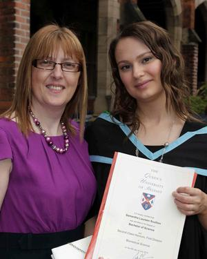 Queen's University summer Graduation. July 2010.   Samantha Scullion and proud mother June from Larne.
