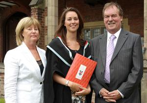 Queen's University summer Graduation. July 2010.    Jill Baker with her parents Josephine and Barry
