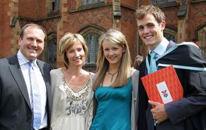 Queen's University summer Graduation. July 2010.  Ryan Wilson from Dromore,Co.Down with his parents Lynn and David and girlfriend Charis McNavne