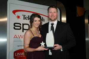 Bethany Firth centre stage with Belfast Giants ice hockey coach Doug Christiansen