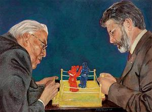 A painting of Ian Paisley and Gerry Adams which was auctioned off to help the people of Haiti