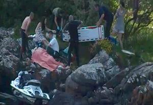 The dramatic scene, taken from video footage, as a young girl was flung from a jet ski unto rocks at a Donegal beauty spot