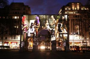 An Agent Provocateur projection displayed on Marble Arch in central London, to celebrate the launch of their Spring Summer collection.