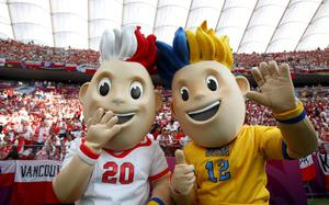 WARSAW, POLAND - JUNE 08:  Euro 2012 mascots Slavek and Slavko pose ahead of the UEFA EURO 2012 group A match between Poland and Greece at National Stadium on June 8, 2012 in Warsaw, Poland.  (Photo by Alex Grimm/Getty Images)