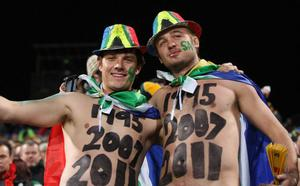 AUCKLAND, NEW ZEALAND - SEPTEMBER 30:  Springbok fans show their support during the IRB 2011 Rugby World Cup Pool D match between South Africa and Samoa at North Harbour Stadium on September 30, 2011 in Auckland, New Zealand.  (Photo by Sandra Mu/Getty Images)