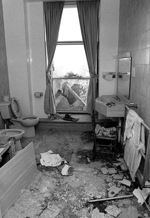 14/10/84 Debris in Prime Minister's Margaret Thatcher's Napolean suite bathroom on the first floor of the Grand Hotel, Brighton, after a bomb explosion during the Conservative Party conference.