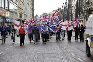 Protesters converge on Belfast City Hall on Saturday afternoon to protest at the removal of the Union flag earlier this week
