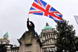Loyalist protesters converge on Belfast City Hall on Saturday afternoon to protest at the removal of the Union flag earlier this week