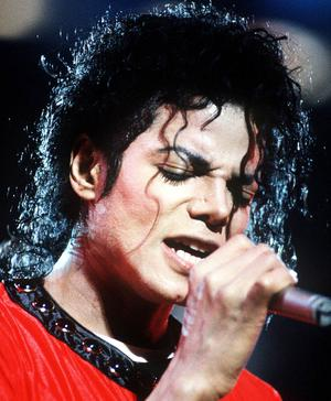 Singer Michael Jackson on stage in 1987