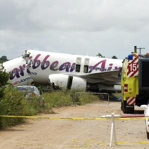 A Caribbean Airlines Boeing 737-800 crashed at the end of the runway at Cheddi Jagan International Airport in Timehri, Guyana (AP)