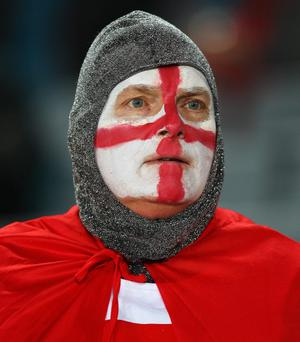 AUCKLAND, NEW ZEALAND - OCTOBER 01:  An England fan looks on prior to the IRB 2011 Rugby World Cup Pool B match between England and Scotland at Eden Park on October 1, 2011 in Auckland, New Zealand.  (Photo by David Rogers/Getty Images)