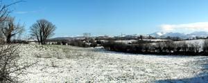 Snow covered fields and the Mourne Mountains. Picture by Chris McCrory. 07/02/09