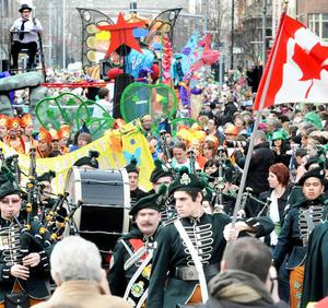St Patrick's Day parade through Belfast. March 2010