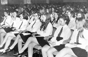 Pupils at Methodist College Prize Distribution in the Sir William Whitla Hall, Queen's University, 1970.