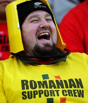 PALMERSTON NORTH, NEW ZEALAND - SEPTEMBER 28:  A Romania fan cheers on his team during the IRB 2011 Rugby World Cup Pool B match between Georgia and Romania at Arena Manawatu on September 28, 2011 in Palmerston North, New Zealand.  (Photo by Mike Hewitt/Getty Images)