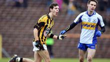 Jamie Clarke (left) celebrates after scoring a goal for Crossmaglen