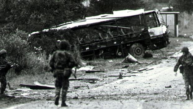 Ballgawley Bus Bomb. The scene of the explosion. 20/08/88