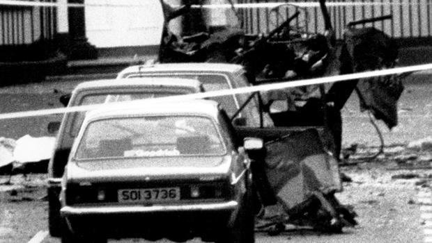 Lisburn Fun Run, 6 soldiers killed. All that ramains of their van after a IRA bomb explosion.  15/6/1988.