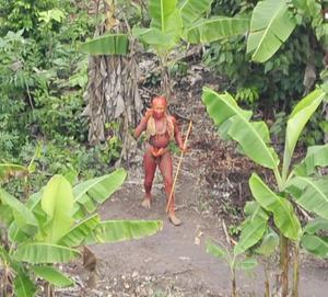 Photo issued by Survival International of uncontacted Indians  living in Brazil, near the Peruvian border, and are featured in BBC1's Human Planet.