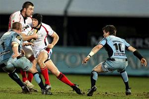 Ulster's Niall O'Connor in action with Cardiff's Gethin Jenkin on Saturday night