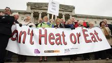 Grey power: Hundreds of pensioners gathered at Stormont yesterday to demand action from the Assembly on the rising costs in food and energy bills