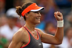 NEW YORK, NY - SEPTEMBER 02:  Samantha Stosur of Australia celebrates match point during her women's singles fourth round match against Laura Robson of Great Britain on Day Seven of the 2012 US Open at USTA Billie Jean King National Tennis Center on September 2, 2012 in the Flushing neighborhood of the Queens borough of New York City.  (Photo by Elsa/Getty Images)