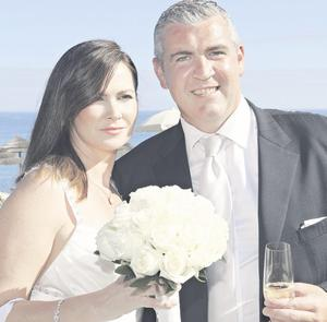 Lorna and Gareth Murphy on their wedding day in Portugal.
