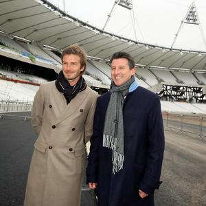 Beckham and London 2012 Organising Committee chairman Lord Coe during a visit to the Olympic Stadium