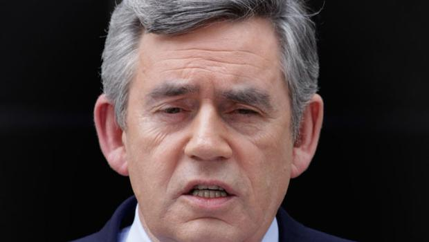 Prime Minister Gordon Brown speaks about the current state of Government and announces that he will step down as Labour leader, outside number 10 Downing Street on May 10, 2010 in London