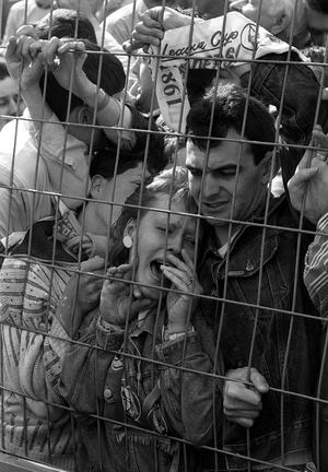 Gill and Brian Caldwell being crushed against the fence in the Liverpool enclosure at Hillsborough
