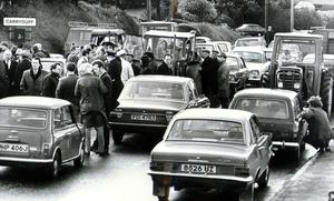 Farmers from the North Down area form a barricade of tractors across the Belfast-Saintfield Road at Carryduff. Ulster Workers Council Strike 23/05/74