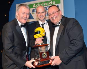Ryan Farquhar was the winner of the Enkalon Irish Motorcyclist of the Year at the Adelaide Motorcycle Awards in Belfast he was presented with the Joey Dunlop trophy by Sam Geddis of Adelaide and David Weir of the Enkalon Club