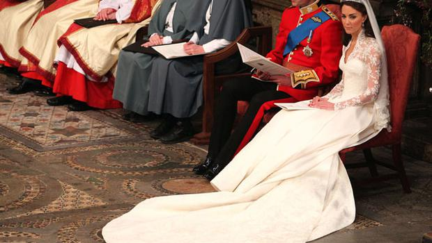 LONDON, ENGLAND - APRIL 29:  Prince William and Catherine Middleton during their wedding service in Westminster Abbey ahead of the Royal Wedding of Prince William to Catherine Middleton at Westminster Abbey on April 29, 2011 in London, England. The marriage of the second in line to the British throne is to be led by the Archbishop of Canterbury and will be attended by 1900 guests, including foreign Royal family members and heads of state. Thousands of well-wishers from around the world have also flocked to London to witness the spectacle and pageantry of the Royal Wedding. (Photo by Anthony Devlin  - WPA Pool/Getty Images)