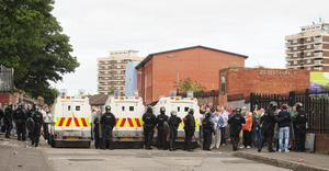 """PACEMAKER BELFAST  02/09/2012 'Minor trouble' at Belfast paradeThere have been some minor disturbances ahead of a planned parade close to Belfast city centre. Police have said they are dealing with """"small levels of disorder"""" around Carlisle Circus and Clifton Street. Picture By: Arthur Allison. Pacemaker Press"""