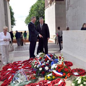 Owen Paterson and Peter Robinson in France, where they laid wreaths and remembered those who lost their lives at the Somme