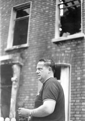 Riots : Belfast. August 1969.  Ronald Kirkpatrick of 131 Crumlin Road, in front of his burnt out house.  15/8/69.