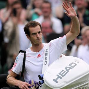 Andy Murray celebrates beating Russia's Nikolay Davydenko on Centre Court
