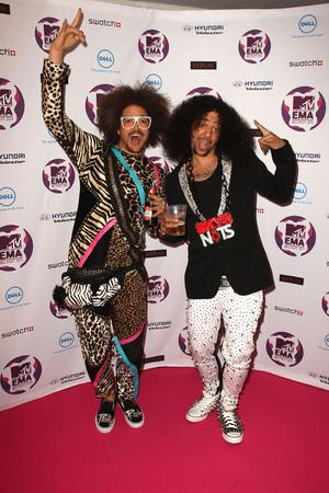 BELFAST, NORTHERN IRELAND - NOVEMBER 06: LMFAO with SkyBlu (R) and Redfoo attend the MTV Europe Music Awards 2011 at the Odyssey Arena on November 6, 2011 in Belfast, Northern Ireland.  (Photo by Dave J Hogan/Getty Images)