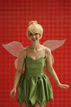 LONDON, ENGLAND - OCTOBER 26:  Debra Phillips, 21, from Manchester poses as Tinkerbell from Peter Pan ahead of the MCM London Comic Con Expo at ExCel on October 26, 2012 in London, England. Visitors to the Comic Convention are encouraged to wear a costume of their favourite comic character and flock to the Expo to gather all the latest news in the world of comics, manga, anime, film, cosplay, games and cult fiction.  (Photo by Dan Kitwood/Getty Images)